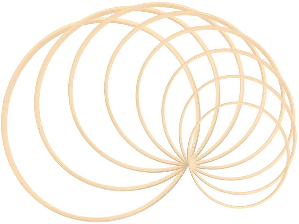 Sntieecr 8 Pieces 8 Sizes Wooden Bamboo Floral Hoop Set Macrame Craft Hoop Rings for DIY Wreath Decor, Dream Catcher and Crafts Making (3 inch/ 4 inch/ 5 inch/ 6 inch/ 7 inch/ 8 inch/ 9 inch/ 10 inch)