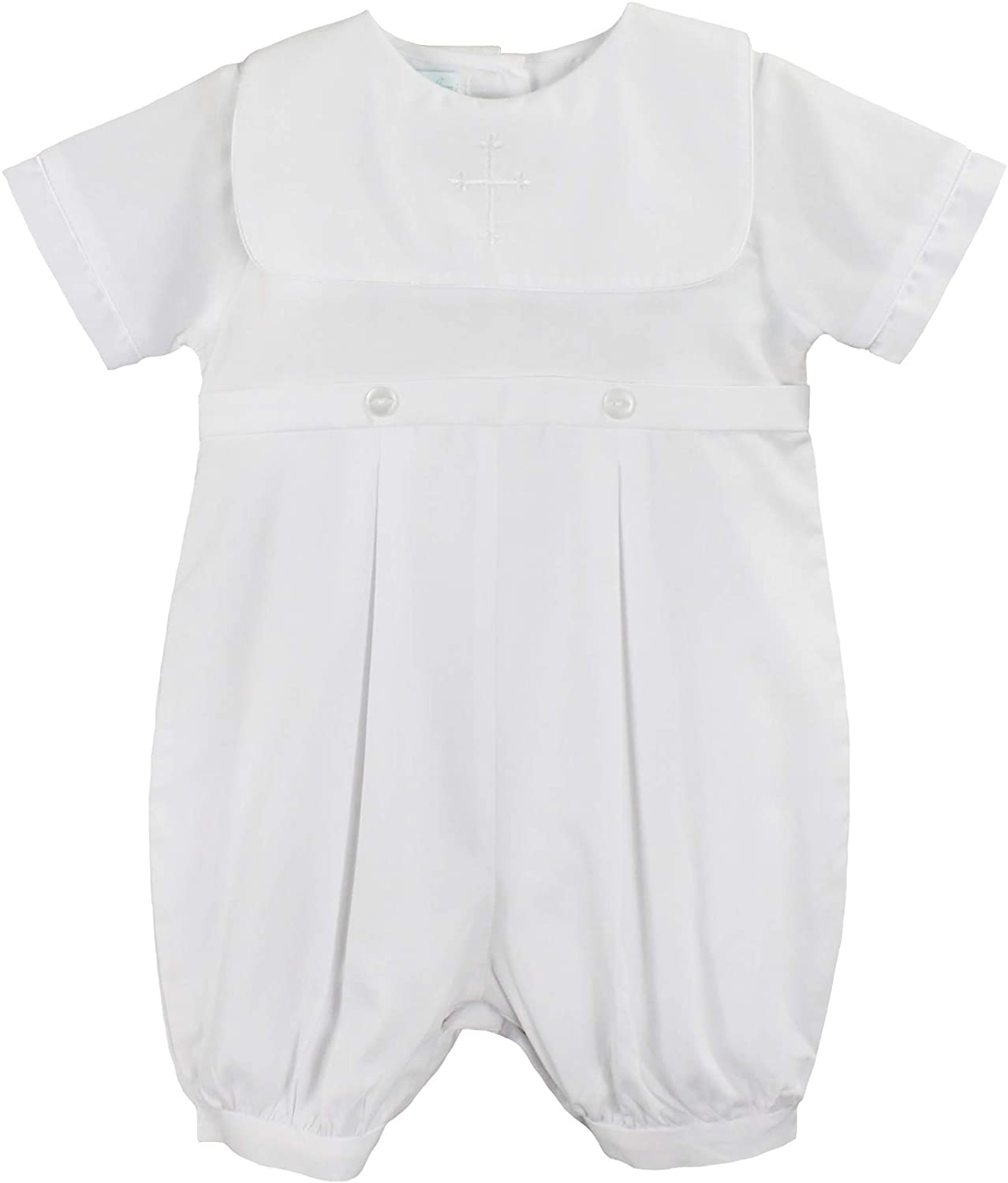 Petit Ami Baby Boys' Hand-Embroidered Cross Christening Romper, White