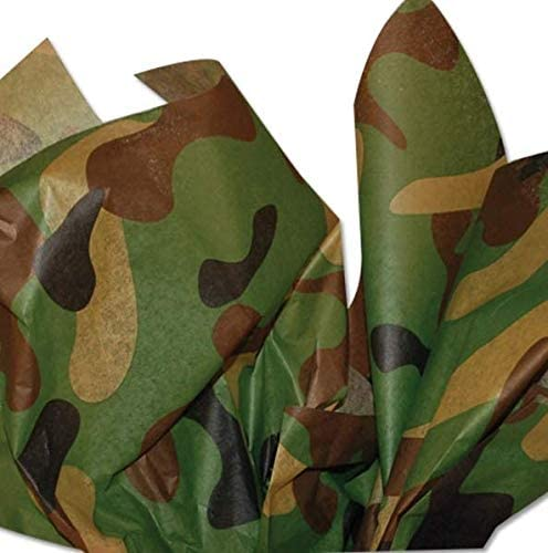 Camouflage Tissue Paper 20 Inch x 30 Inch Camo Sheets Bulk Pack of 20