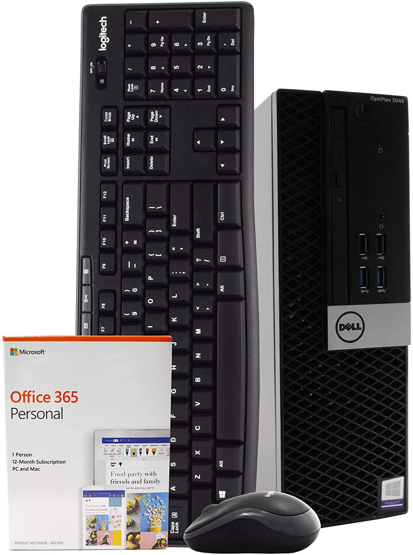 Dell OptiPlex 3040 PC Desktop Computer, Intel Quad Core i5-6500, 8GB RAM, 500GB HDD, Windows 10 Pro, Microsoft Office 365 Personal, New 16GB Flash Drive, Wireless Keyboard & Mouse, DVD, WiFi (Renewed)