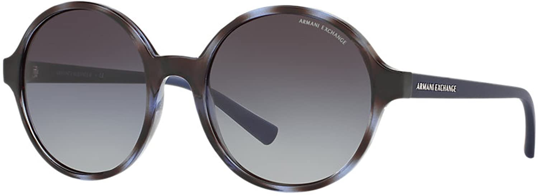 A X Armani Exchange AX4059S Sunglasses 82068G-55 - Havana Blue Twilight Frame, Grey Gradient