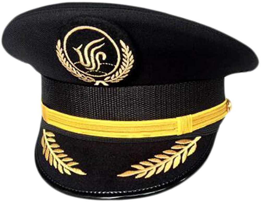 George Jimmy Aircraft Captain Cap Uniform Aviation Cap Railway Hat Costume Accessory-A22
