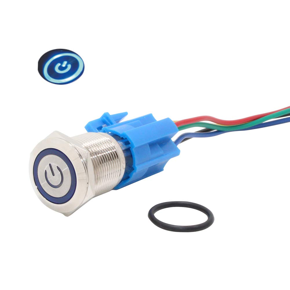 12V Push Button Latching Switch On Off Waterproof Switches IP67 Buttons Blue Led Pushbutton Locking Button Switches 19mm 5A 12 Volt with Socket Plug Wire PBSLL-03 (Blue-Latching/self-lock))