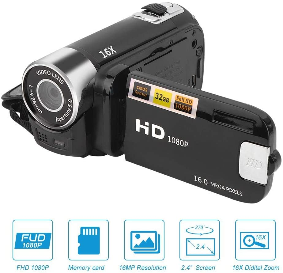 Digital Camcorder,16X Digital Zoom HD Video Camera Vlogging Camcorder Recorder with 2.4 Inch 270 Degrees Rotation Screen,Built-in Microphone,Speaker,Support 32GB Memory Card