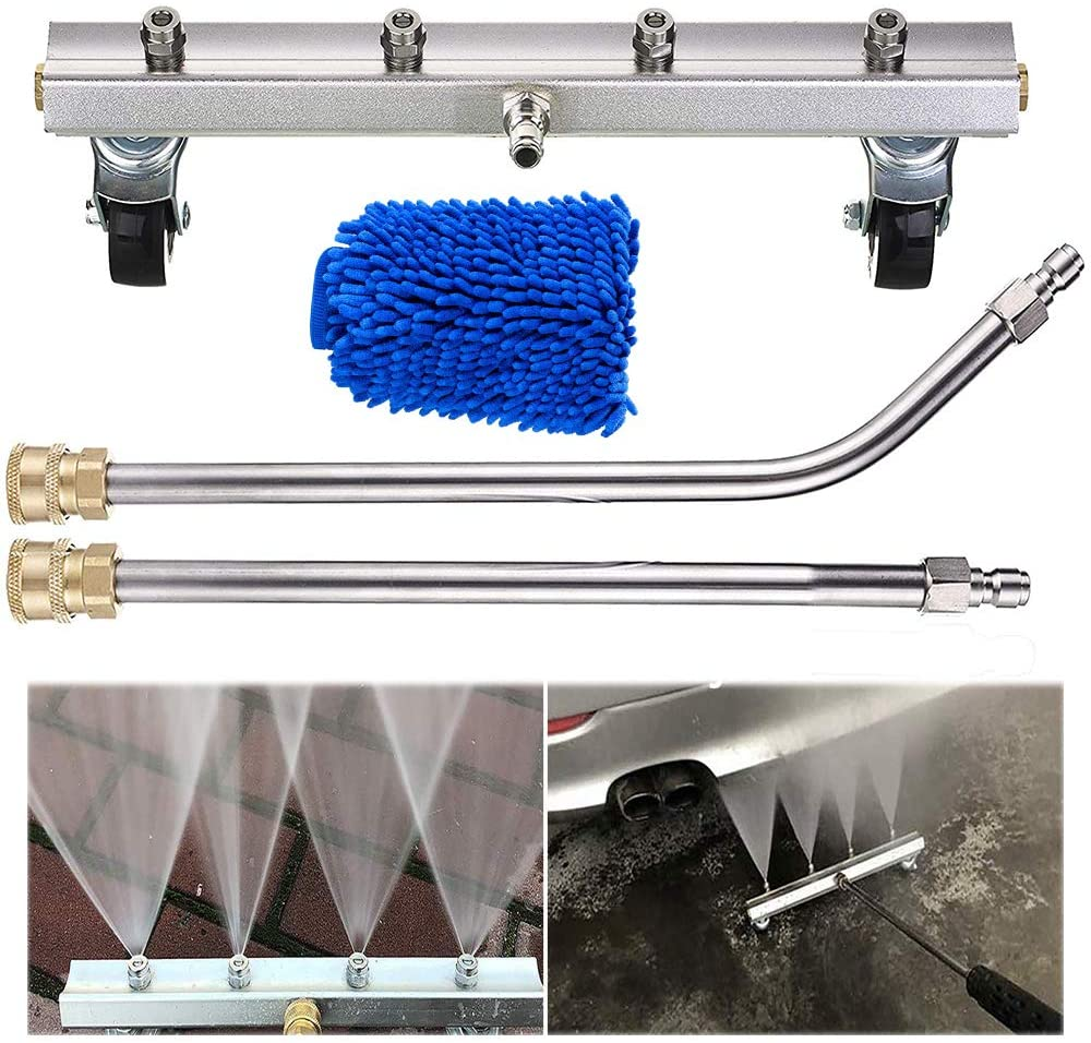 Fochutech Pressure Washer Car Undercarriage Cleaning Tool Jet Car Wash Brush Underbody Water Broom Pressure Washer Gun Needed with Wand Extension and Spray Nozzles 4000 PSI (1/4'' Quick Connector)