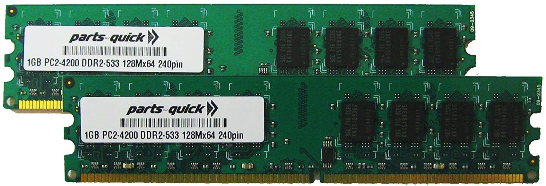 2GB Kit 2 X 1GB DDR2 Memory for Dell Optiplex GX520 GX620 GX745 Desktop PC2-4200 240 pin 533MHz DIMM RAM (PARTS-QUICK BRAND)