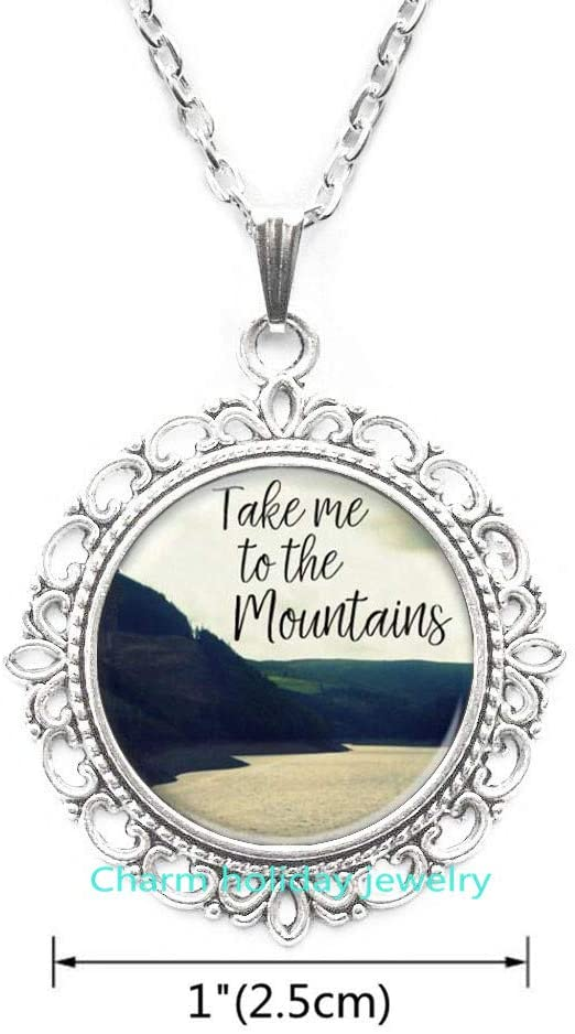 Charm holiday jewelry Take Me to The Mountains Pewter Necklace-Mountain Necklace-Hand Made Mountain Scene Necklace-#89