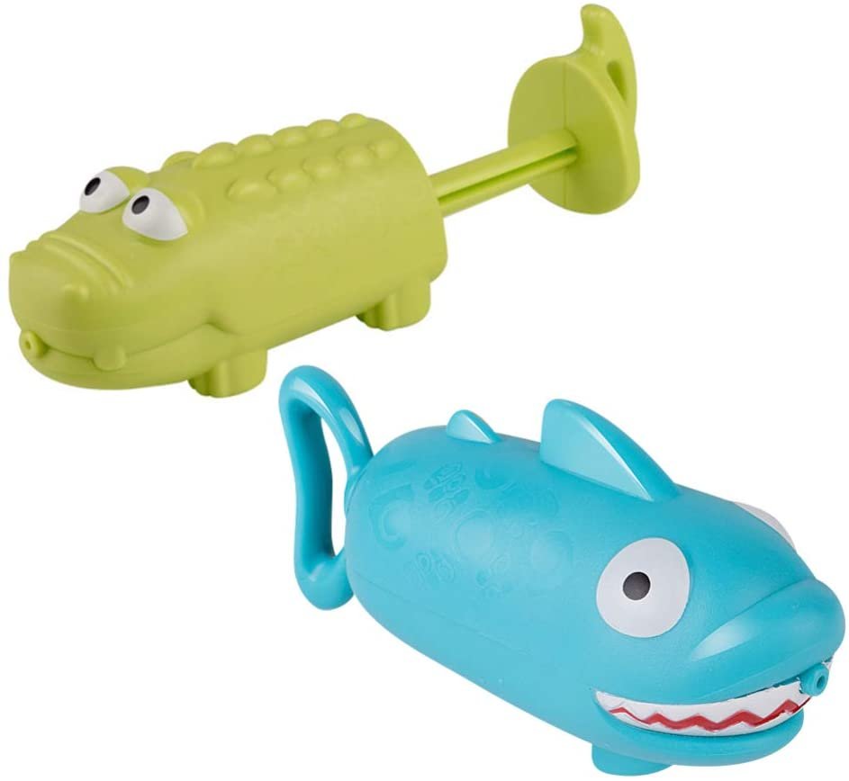 BESPORTBLE Water Gun Toy, Funny Crocodile and Shark Shaped Backpack Water Gun Beach Toy, Water Gun High Pressure Adult Water Gun 2PCS Random