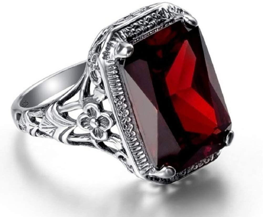 Wenbin Elegant Huge Natural 3.5Ct Tanzanite 925 Silver Ruby Ring Women Wedding Engagement Size 6-10 (Size 10)