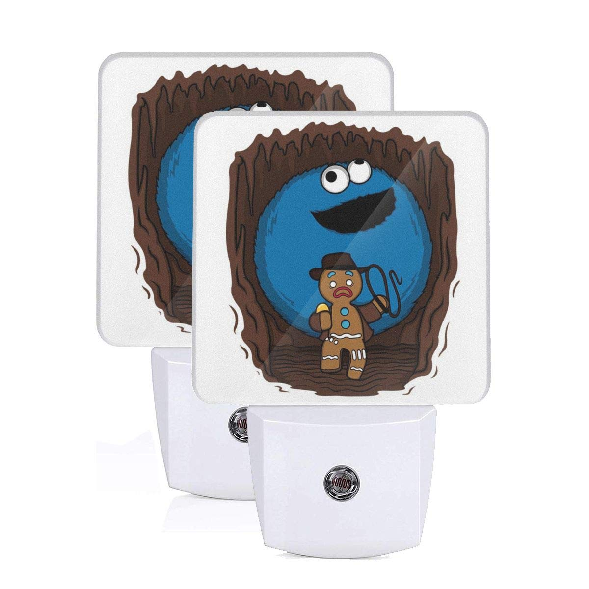 Indiana Jones Cookie Monster Gingerbread Man Mix Plug-in Led Night Light with Auto Dusk to Dawn Sensor,Bedroom, Kids Room, Kitchen, Stairway, Adjustable Brightness 2 Pack