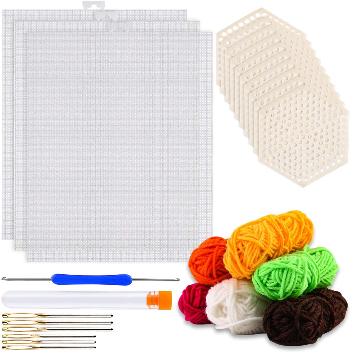WXJ13 24 Pcs Clear Plastic Mesh Canvas Kit Including 15 Pack Clear Plastic Mesh Canvas Sheets, 6 Color Acrylic Yarn and Embroidery Tools for Embroidery Crafting