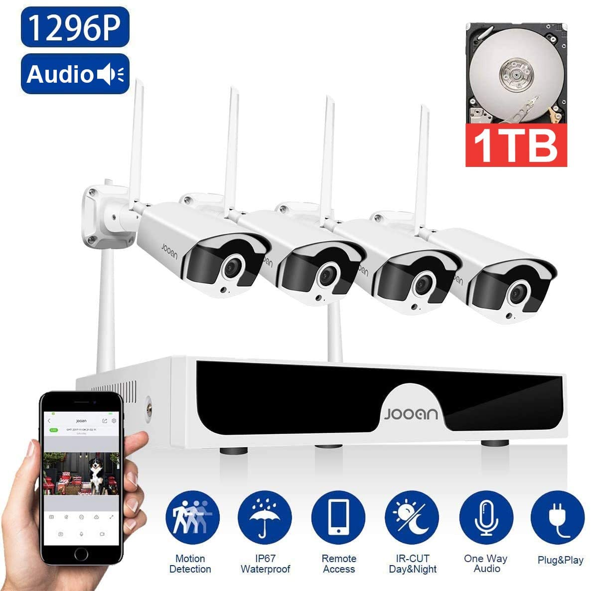 JOOAN 3MP Security Camera System Wireless,8-Channel NVR&4Pcs FHD 1296P(Clearer Than 1080P) Audio Record CCTV Cameras,Waterproof&Good Night Vision,Motion Alert(with 1TB Hard Drive)