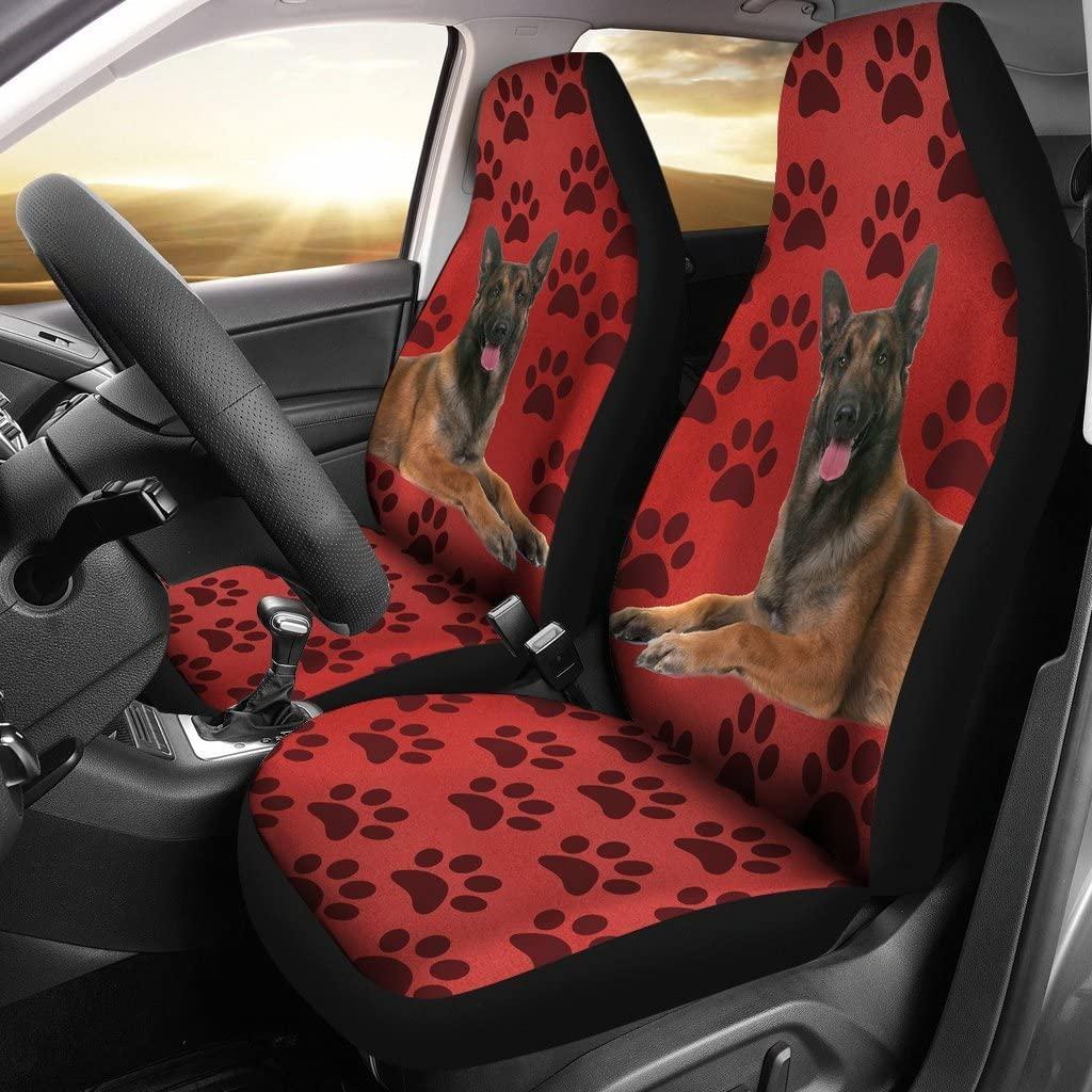 Pet Animal Designs Belgian malinois Dog With Paws Print Car Seat Covers
