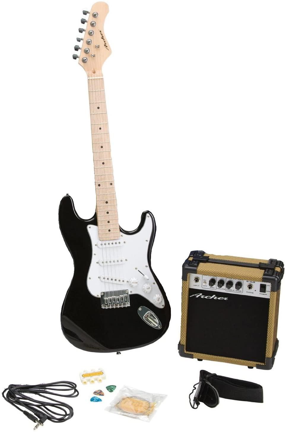 Archer SS10JRPAKBK Blues and Rock Junior Electric Guitar Package, Black