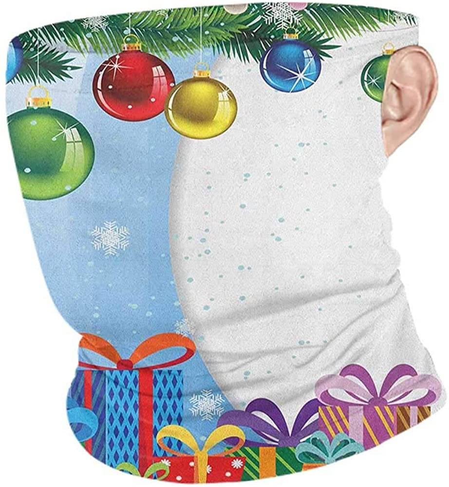 Face Cover Summer Christmas Colorful Surprise Present Boxes Bowties and Vibrant Xmas Balls Fir Tree Branches,Unisex Anti-Dust Washable Multicolor 10 x 12 Inch