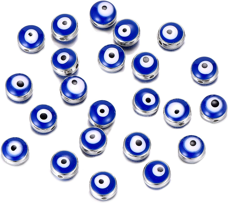 50pcs Acrylic Round Shape Blue Evil Eye Beads Charms Pendants for DIY Bracelet Necklace Jewelry