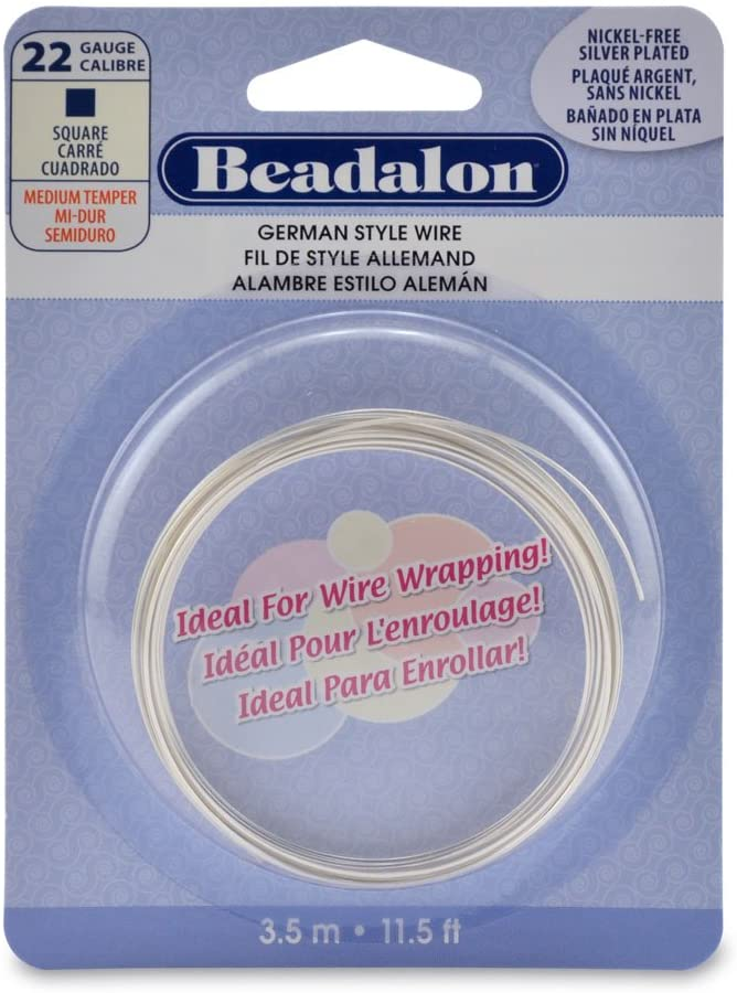 Beadalon Square Silver Plated 22-Gauge Wire, 3-1/2-Meters
