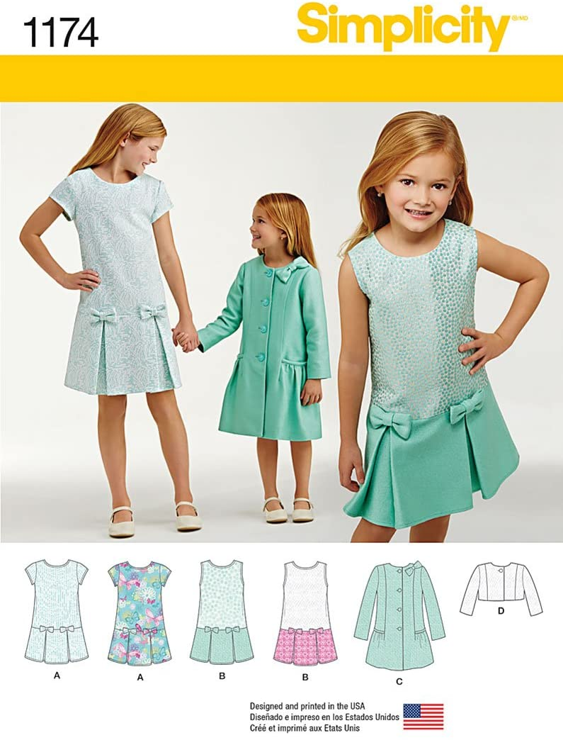 Simplicity US1174K5 Child and Girls Dress, Coat, and Jacket Sewing Pattern Sizes 7-14