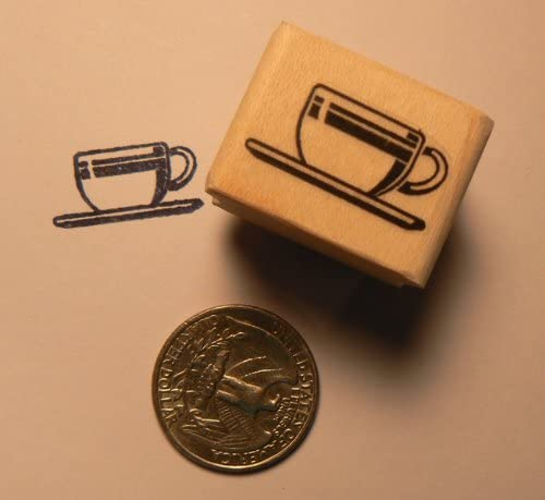 Miniature Coffee Cup Rubber Stamp WM P24