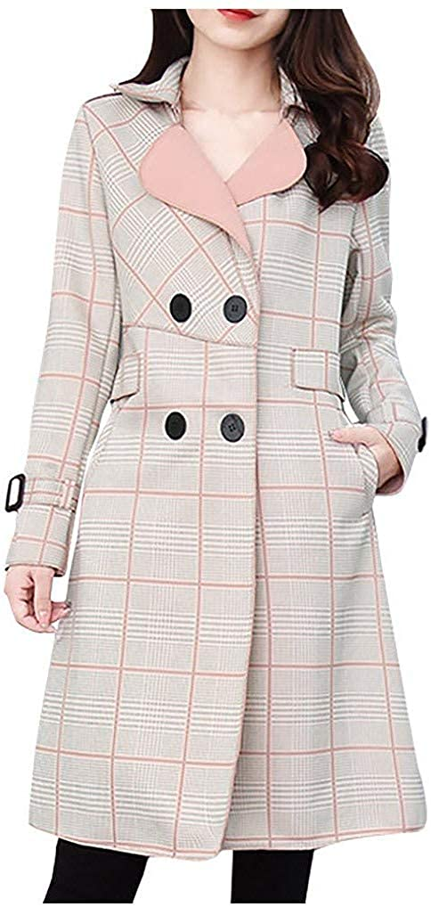 Smileyth Women Windbreaker Fashion Ladies Long Sleeve Turn-Down Collar Plaid Double Breasted Trench Medium Long Temperament Coat Fall Winter Open Front Overcoat Outwear