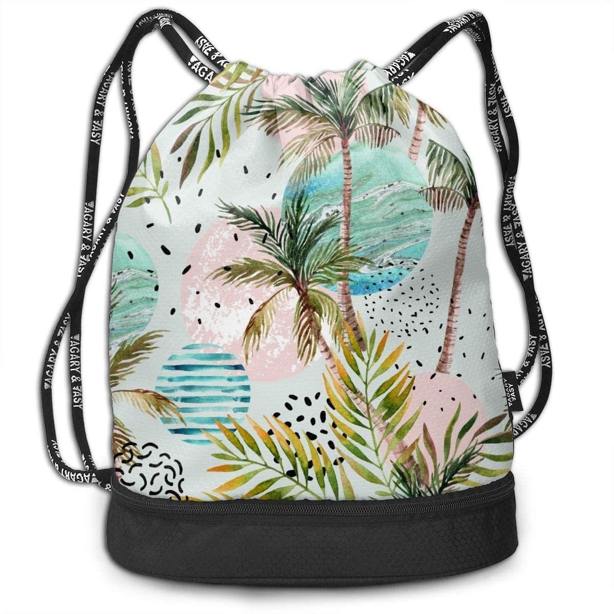 Bundle Backpacks Summer Watercolor Palm Tree Gym Sack Drawstring Bags Casual Daypack Yoga Bag School Training Pouch