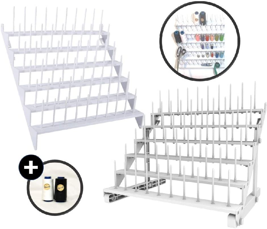 Thread Organizer/Holder/Thread Rack-Table Stand/Wall Hanging for 60 Spool Yarn Embroidery Quilting and Sewing Threads, Ribbon Rack, Hard Sturdy Plastic and Easy mounting