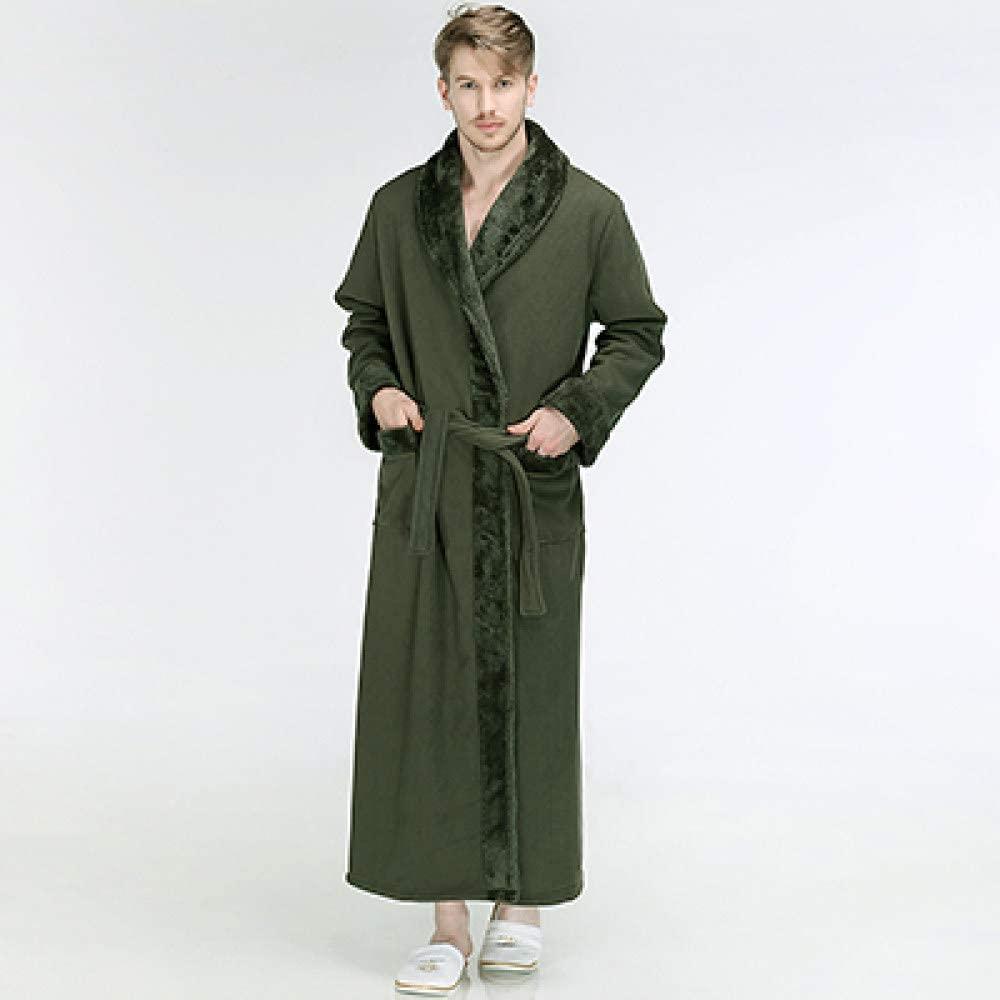 llwannr Bathrobe Robe Nightgown Sleep,Women Men Winter Extra Long Thick Warm Bathrobe Luxury Flannel Bath Robe Super Soft Thermal Dressing Gown Sexy Robes,Army Greem Men,L