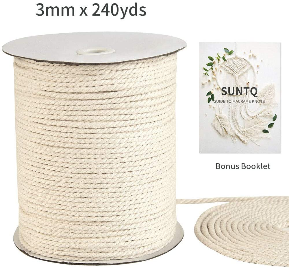 SUNTQ Macrame Cord 3mm x 240Yards, Natural Cotton Macrame Rope, 3 Strand Twisted Cotton Cord for Wall Hanging, Plant Hangers, Crafts, Knitting, Decorative Projects, Soft Undyed Cotton Rope