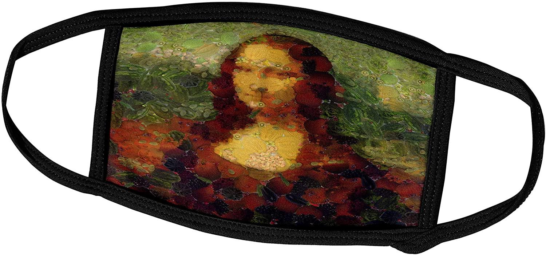 3dRose Taiche - Digital Art - Vegetable Decoupage - Mona Lisa Lettuce Fine Art Vegan Parody - Face Masks (fm_307189_2)