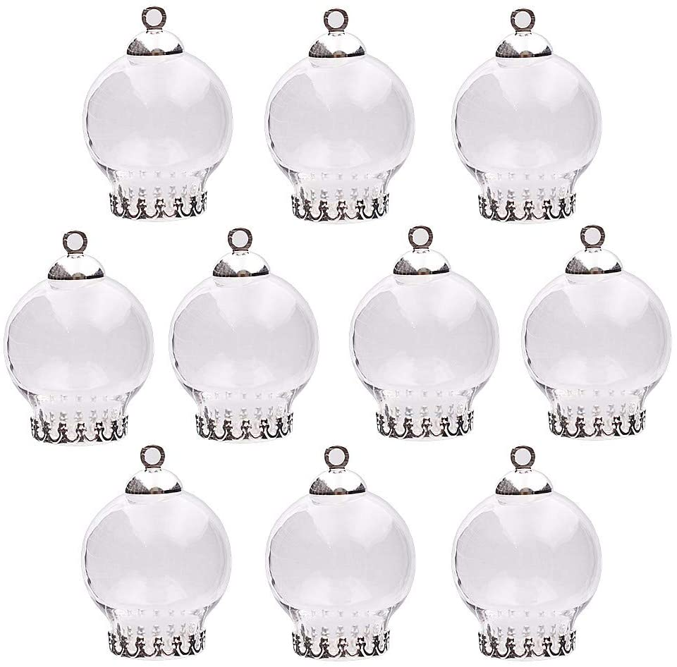 10pcs 20x12mm Cute Mini Clear Glass Globe Bottle with findings Set Glass Dome Cover Glass Vial Pendant Jewelry findings Supply (Silver Crown Base)