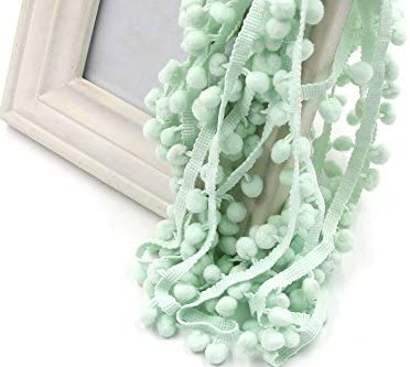 Yalulu 10Yards Pom Pom Trim Ball Fringe Ribbon DIY Sewing Accessory Lace for Home Party Decoration (Green)