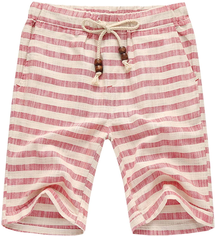Flygo Men's Summer Casual Linen Drawstring Striped Beach Shorts