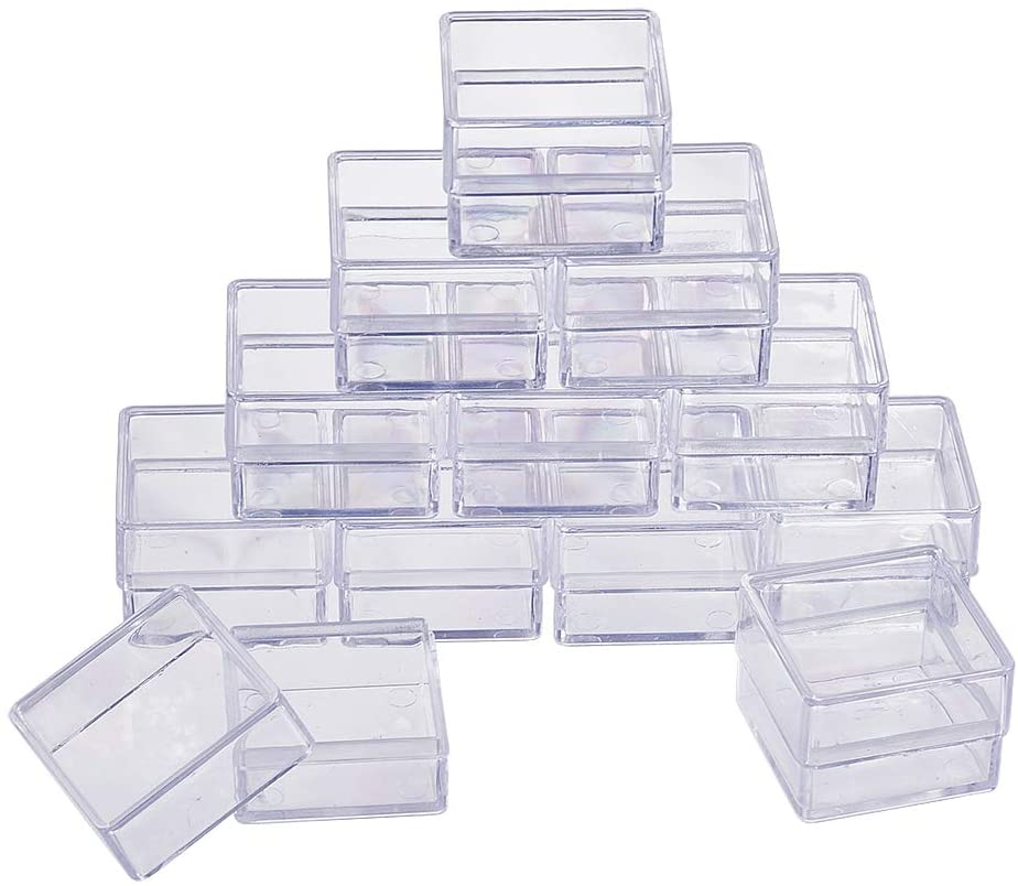 BENECREAT 16 Pack Square High Transparency Plastic Bead Storage Containers Box Case for Beauty Supplies,Tiny Bead,Jewerlry Findings, and Other Small Items - 1.18x1.18x0.86 Inches
