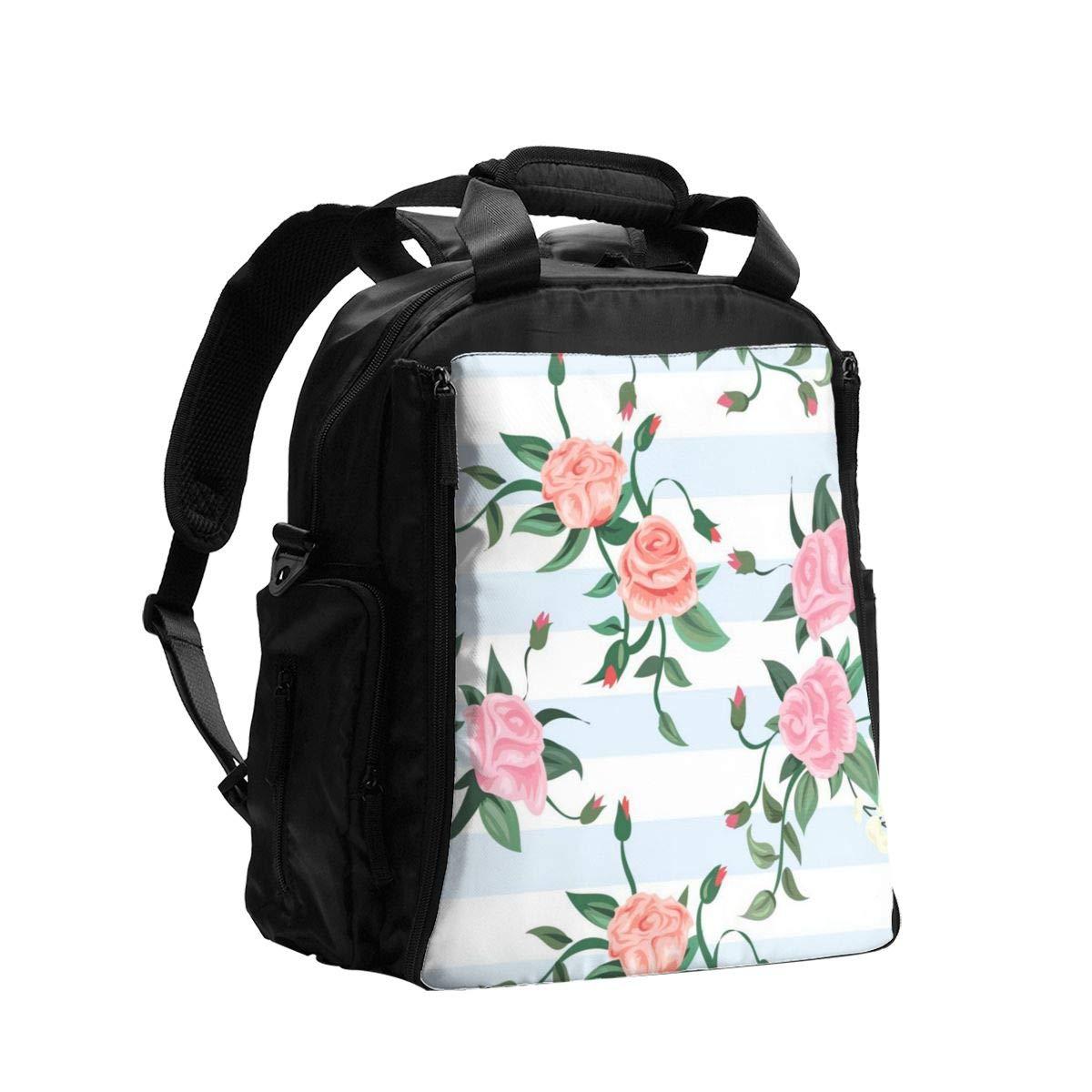 Diaper Bag Backpack Watercolor Blue Leaves Light Pink Flowers Floral Baby Diaper Bag Tote Travel Waterproof Mom Mommy