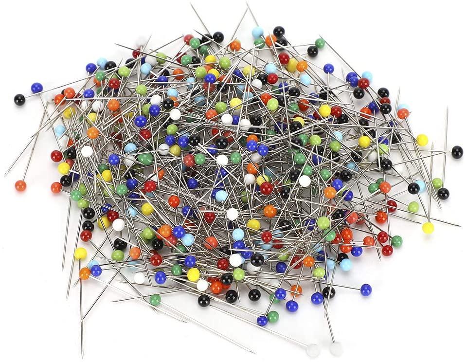 500Pcs Plastic Pearl Head Pins, Colorful DIY Hand Work Sewing Pins Pearl Head Pins Straight Quilting Pins Multicolor Ball Head Pins