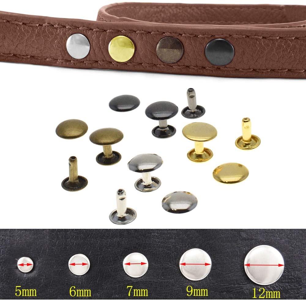 200pcs/set Metal Double Cap Rivets Stud Rapid Rivets Collision Nail Metal Spike Leather Craft Repair 4 Colors (Gold, 6mm6mm)