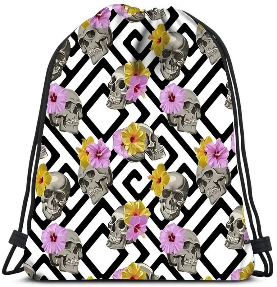 bneegxg Backpack Drawstring Bag Skull and Hibiscus Women&Men Sport Gym Sack