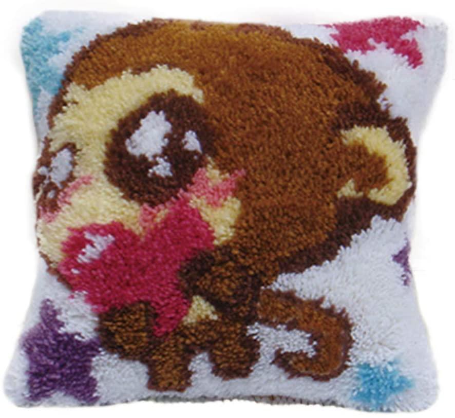 TQQT DIY Latch Hook Kits Rugs Cover Cushion Carpet Floor Mat Pillowcase Hand Craft Crochet for Kids Adults Parents Girls Gift Monkey