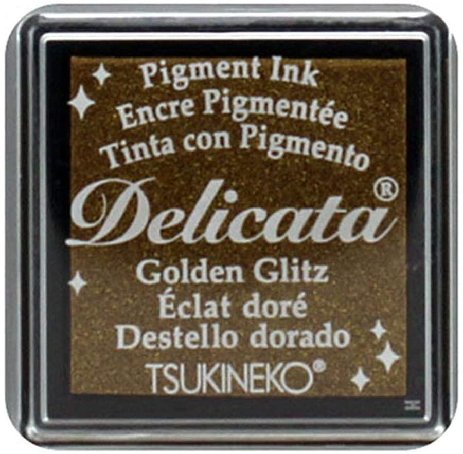 Tsukineko, Delicata, Small Ink Pad, Golden Glitz