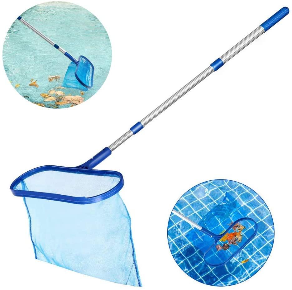 Swimming Pool Skimmer, Heavy Duty Fine Mesh Pool Net Deep Bag Leaf Rake with Aluminum Telescopic Pole for Garden Pond, Hot Tub And Spa