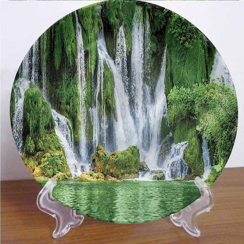 Channing Southey 8 Inch Waterfall 3D Printed Decorative Plate,Greenery Reflection River Tableware Plate Decor Accessory for Pasta, Salad,Party Kitchen Home Decor