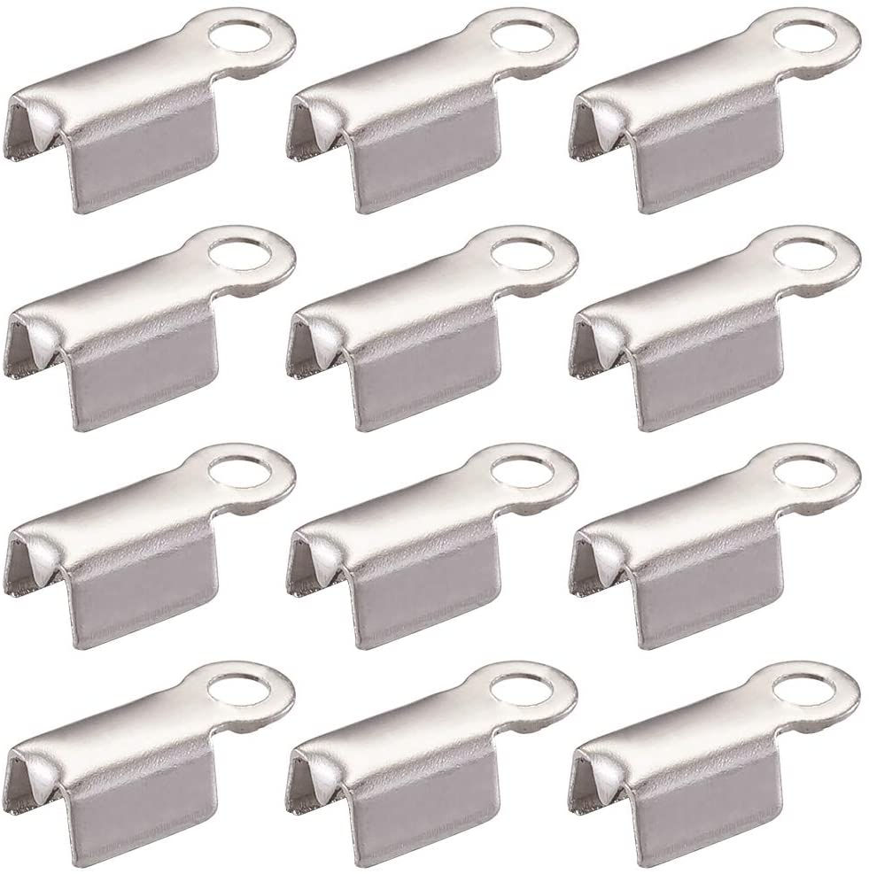 Pandahall 100pcs Stainless Steel Fold Over Crimp Cord Ends Leather Clamp End Tips Stopper Connector 9.5x4x3mm for Jewelry Making