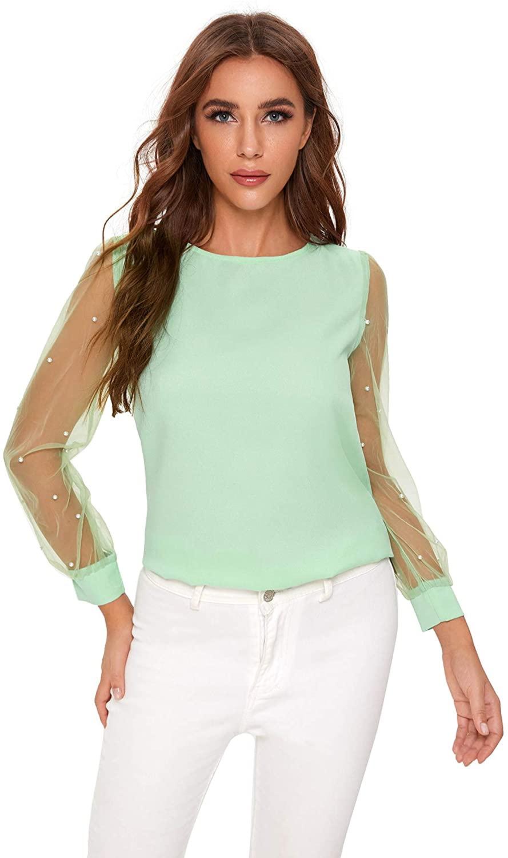 Floerns Women's Pearl Beading Sheer Mesh Sleeve Blouse Tops