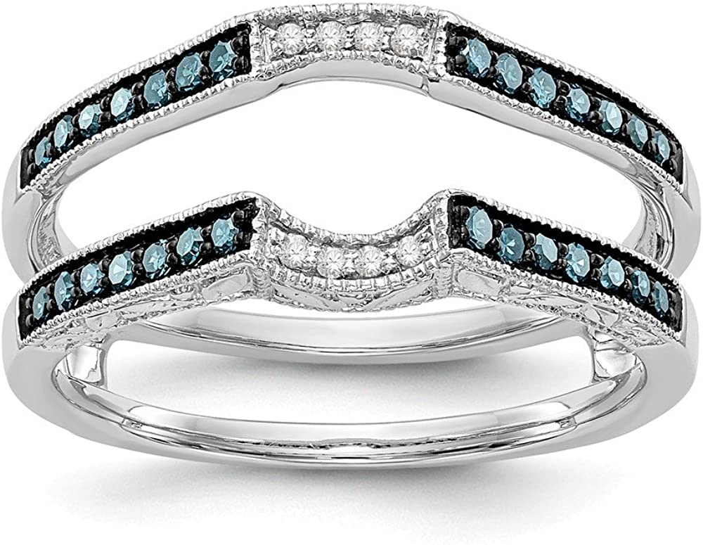 Solid 14K White Gold Engagement Wedding Ring Blue and White Diamond Guard (.264 cttw.)