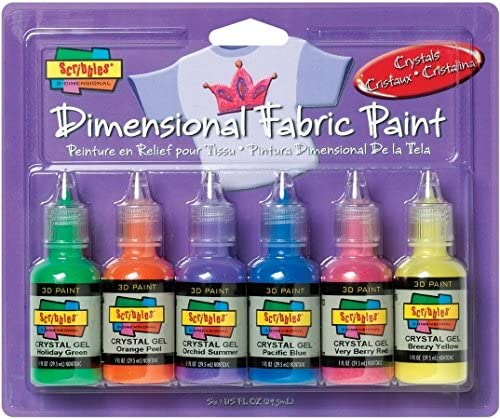 I Love To Create 185-33 Scribbles 3D Fabric Paints 1oz 6/Pkg-Crystal