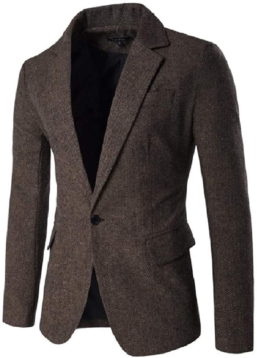 Losait Mens Slim Fit 1 Button Warm Blazer Center-Vent Back Sport Coat