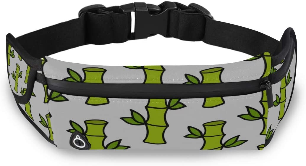 Bamboo Green Leaf Plant Boys Travel Bag Children Fanny Pack Womens Fashion Bag With Adjustable Strap For Workout Traveling Running
