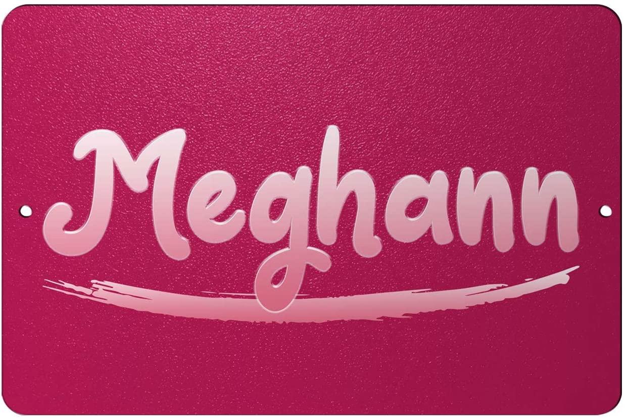 Makoroni - Meghann Female Name 12x18 inc Aluminum Decorative Wall Street Sign