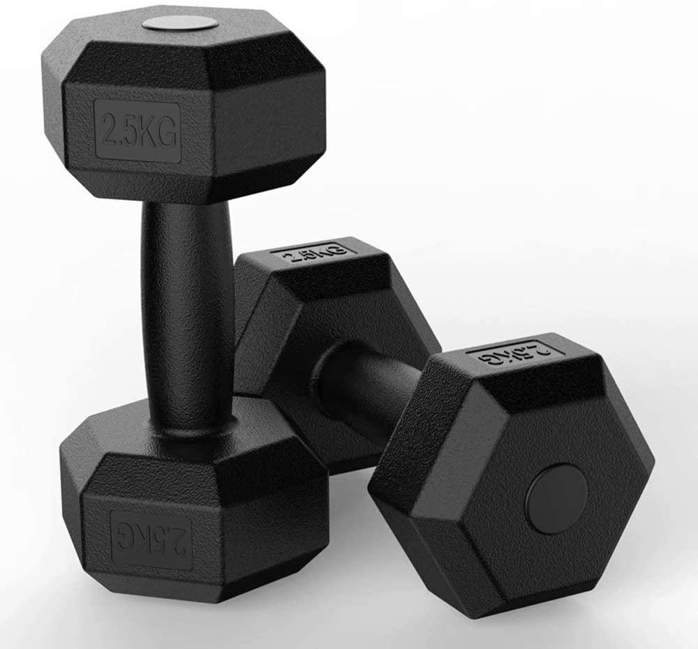 Y&J Hexagonal Fitness Household Dumbbell Exercise Arm Muscle Men's Rubberized Fitness Female Dumbbell Equipment 5/10kg for Fitness-Training,Weight Lifting,Pilates