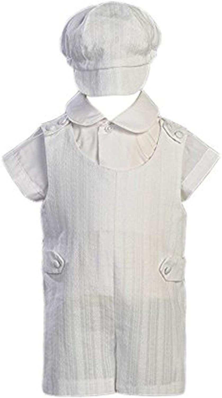 Cotton Embroidered Short Christening Baptism Romper Set